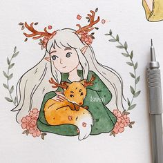"vivie °◡° on Instagram: ""Drawing this beautiful character by @naomi_lord 🦊🌸"""