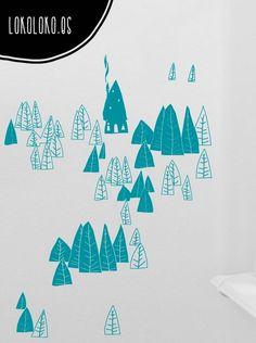 Pegatina de vinilo para la decoración de paredes con un bonito dibujo de un bosque con árboles y una cabaña. / Vinyl sticker for wall decorations with a nice drawing of forest with trees and a cabin. #sticker #vinilo #bosque