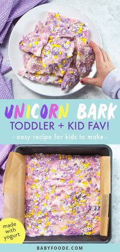 This Yogurt Unicorn Bark is an easy and healthy frozen treat to make with your toddler or kids! Filled with wholesome ingredients along with a pinch of magic✨! Great for a healthy snack or yummy frozen treat! Kids Cooking Recipes, Baby Food Recipes, Snack Recipes, Camping Recipes, Cooking With Kids, Kitchen Recipes, Recipes Dinner, Fish Recipes, Kids Yogurt