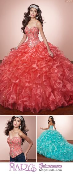 Style 4T177: 2 piece strapless organza quinceanera ball gown with sweetheart neck line, beaded bodice, lace-up back, ruffled skirt with train, and matching bolero. From Mary's Quinceanera Fall 2016 Alta Couture Exclusive Collection