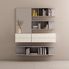 Ultramodern, elegant 'Avana' bookshelves wall unit. Elegant, available in different colours. My Italian Living