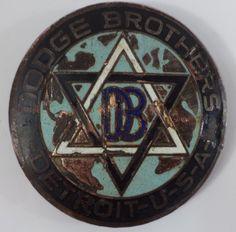 Original Vintage Brass DODGE Radiator Grill Emblem Badge Logo Hood OLD GM PIN