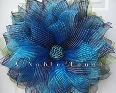 Pattern for Nautical Flower Wreath by A Noble Touch, Ocean Storm Wreath, Nautical Wreath Peacock Wreath, Purple Wreath, Wreath Crafts, Diy Wreath, Wreath Ideas, Diy Crafts, Sunflower Burlap Wreaths, Flower Wreaths, Diy Angels