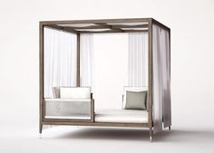 Italian Amalfi Gazebo from Smania, Luxury Teak-wood Patio Furniture Wood Patio Furniture, Bed Furniture, Furniture Design, Outdoor Daybed, Outdoor Seating, Outdoor Decor, Outdoor Cabana, Gazebo Tent, Italian Furniture