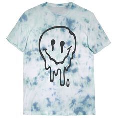 Melted Smiley Face on a unisex pastel blue & green tie dye t shirt. This is an official KILLER CONDO garment; innovators of many infamous graphic clothing designs. Our crew neck tees are a very soft, lightweight 4.2 oz. 100% combed and ring-spun, pill-resistant cotton with side-seamed