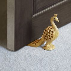 Decorative Small Wooden Door Stopper Doorstop Holder Hand Carved in a Peacock Shape Floor Blocker Closers Jammer Home Furniture Décor * You can get additional details at the image link. (This is an affiliate link and I receive a commission for the sales)