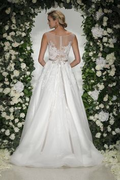 Cadogan (back view) - Anne Barge, Fall 2016 Collection. Wedding dress with classic details of lace and tulle.