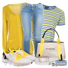 Yellow & Blue by rielldes on Polyvore featuring moda, Rossopuro, Topshop, Frame Denim, Balenciaga, adidas, Karen Walker, Dinny Hall, Henri Bendel and MANGO