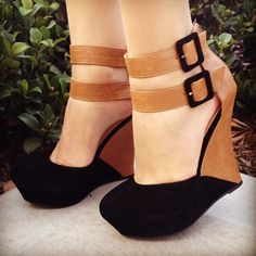 Black suede and tan pleather wedge heels with black buckles. Adoooore.