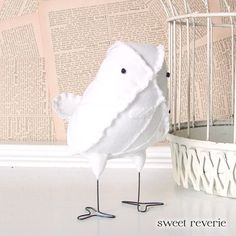 Lilibeth the Soft Sculpture Textile Fabric Bird by Sweet Reverie, $24.00