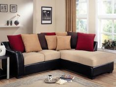 Lure Beige Leather Sectional Sofa