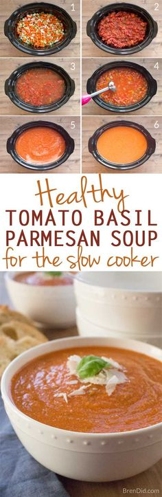 Healthy slow cooker tomato basil parmesan soup is creamy comforting and cheesy PLUS it's packed with vegetables that give it incredible flavor without all the fat and calories. Shhh no one will know its anything but delicious creamy tomato soup! Healthy Slow Cooker, Slow Cooker Soup, Slow Cooker Recipes, Crockpot Recipes, Soup Recipes, Cooking Recipes, Recipies, Yummy Recipes, Healthy Diet Recipes