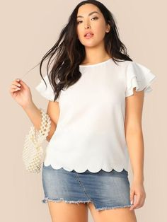 Color:                                                    Pink Details:                                                    Button, Scallop, Tiered Layer Fabric:                                                    Fabric has no stretch Fit Type:                                                    Regular Fit Length:                                                    Regular Composition:                                                    100% Polyester Neckline…