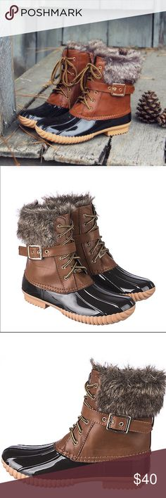 """Brown Fur Duck Boots Sz 5.5 - 10 Brown fur duck boots, dark brown rubber bottom, lace up style , fully waterproof, inside partial zipper for easy on/off, faux leather and rubber exterior, buckle accent, 1/2"""" heel, runs true to size .  Available in size  5.5, 6, 6.5, 7, 7.5, 8, 8.5, 9, and 10.  No trades, price firm unless bundled.  BUNDLE 3 OR MORE ITEMS FOR 15% OFF!! Boutique Shoes Winter & Rain Boots"""