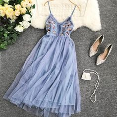 A-line Embroidery Pleated Patchwork Prom Dress CR Dress Outfits, Fashion Dresses, Cute Outfits, Prom Dresses, Summer Dresses, Formal Dresses, Long Dresses, Mesh Dress, Dress Up