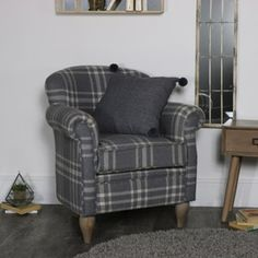 Turn your living room or study in a country manor or lodge with this gorgeous Grey tartan / cheque arm chair. Home Depot Adirondack Chairs, Farmhouse Dining Chairs, Oversized Chair And Ottoman, Beautiful Sofas, Timber House, Tub Chair, Rustic Decor, Diy Home Decor, Accent Chairs