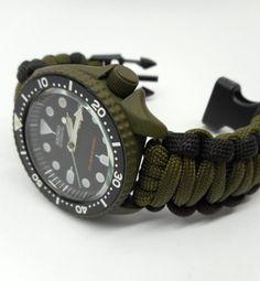 Seiko MOD 7S26 SKX007 OD Green Cerakote military free paracord strap