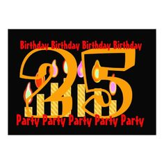25th -  29th Gold Red Black Birthday Party Announcements