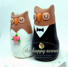 Owl Wedding Cake Topper  READY TO SHIP by TheHappyAcorn on Etsy, $149.00