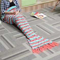 180x90cm Yarn Knitting Mermaid Tail Blanket Birthday Gift Warm Super Soft Bed Mat Sleep Bag