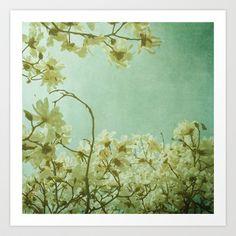 Uplifting Art Print by Olivia Joy StClaire - $19.00, flowers, magnolia, home decor, spring, aqua, mint green