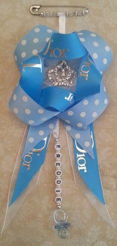 Magnetic Pram charm baby Boy romany Blue  diamante