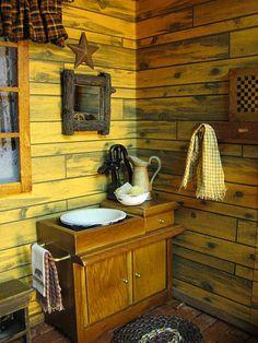 Miniature Dollhouse Log Cabin Bathroom