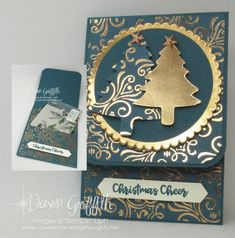 Two for Thursday ~ Brightly Gleaming Gift Card Holder Videos - Dawn's Stamping Thoughts Christmas Tree Cards, Stampin Up Christmas, Holiday Cards, Christmas Cards, Christmas Ideas, Christmas Ornaments, Gift Cards Money, Free Gift Cards, Amigurumi
