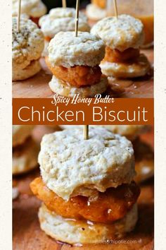 Easiest sliders ever! These chicken and biscuit sliders with chipotle honey butter are perfect for your game day party (or anytime! Sandwich Bar, Biscuit Sandwich, Sandwiches, Biscuit Recipe, Sandwich Recipes, Honey Butter Chicken Biscuit, Chicken And Biscuits, Honey Chicken, Breakfast Waffle Recipes