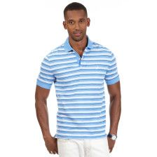 Big & Tall Feeder Stripe Deck Polo Shirt - Blue Grass