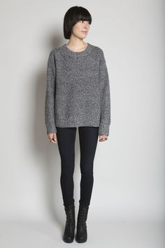 Sweater + leggings + boots = comfy