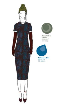 M.PATMOS by Marcia Patmos - Look features Pantone colors Mykonos Blue and Deep Lichen Green (from Pantone Fashion Color Report, Fall 2013)