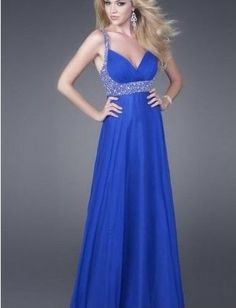 Sexy V-Neckline Prom Dress with Beaded Waistline