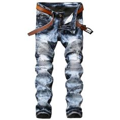 Men Jeans Ripped Slim Fit Hip Hop Denim Trousers Men`s Jeans High Quality Motorcycle Pants
