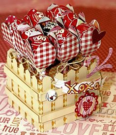 """How cute is Kathy's """"Lollipop Garden"""" Project from the FOR MY VALENTINE'S KIT!!! I love the colors and print she used!!"""
