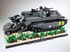US MARINES LVT-4 | Flickr - Photo Sharing! Lego Ww2, Lego Army, Lego Soldiers, Construction Lego, Lego Guns, Lego Craft, Lego Mechs, Lego Trains, Cool Lego Creations