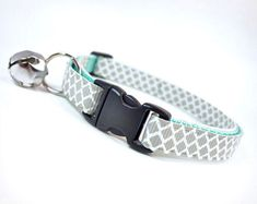 """""""Incense & Peppermints"""" Cat / Kitten Collar - Light Grey on Mint - by MadeByCleo, $12.00"""