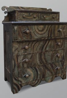 Pretty wild, but it's irresistible. What a focal point *that* would make! American painted chest of drawers. A comment on this pin says it was painted by Dan Coble.