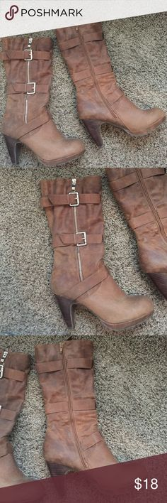 Brown boots Really cute and comfy. Just have to many pairs. Shoes Heeled Boots