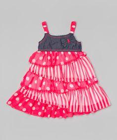 Look at this #zulilyfind! Pink Polka Dot Ruffle Dress - Toddler & Girls by Unik #zulilyfinds