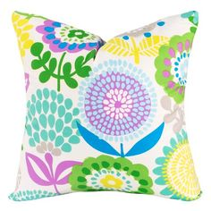 Transform your bedroom into a bright, beautiful garden with the Crayola Pointillist Pansy Square Throw Pillow. Decorated with an artsy flower pattern, the fun throw pillow perfectly complements the colorful bedding and stands as its own statement piece. Throw Pillows Bed, Designer Throw Pillows, Decorative Throw Pillows, Colorful Bedding, Pillows Online, Thing 1, Pansies, Comforter Sets, Flower Patterns