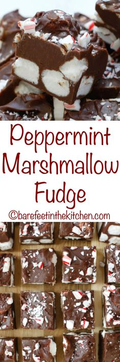 Peppermint Marshmallow Fudge - get the recipe at. Peppermint Marshmallow Fudge - get the recipe at Peppermint Marshmallow Fudge - get the recipe at barefeetinthekitc Köstliche Desserts, Holiday Desserts, Holiday Baking, Holiday Recipes, Delicious Desserts, Dessert Recipes, Holiday Treats, Christmas Sweets, Christmas Cooking