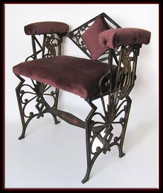 Vintage 1900 Heavy Iron Art Nouveau Steampunk Upholstered Bench Chair w/ Peacock Design on Etsy, $299.95