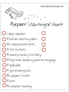 An airport scavenger hunt is a great way to keep the little ones entertained at the airport! Photo courtesy of Inpiredbyfamilia.com