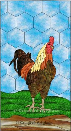 ginger_rooster_cabinet_door_insert__stained_glass_rooster_window ...