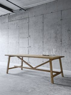 Buy online Piazzalunga By fioroni, rectangular solid wood table Dining Table With Bench, Dining Room Table, Scaffold Table, Home Room Design, Solid Wood Table, Concrete Wall, Industrial Furniture, Table Furniture, Interior