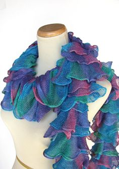 Hand Knit Ruffled Scarf  Turquoise Green Pink by ArlenesBoutique, $45.00-Love the colors of this scarf!