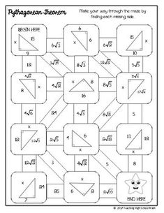 Geometry Right Triangles Mazes by Teaching High School Math Teaching Geometry, Teaching Math, Math Teacher, Math Classroom, Algebra Projects, 9th Grade Math, Math Cartoons, Right Triangle, Maths Puzzles