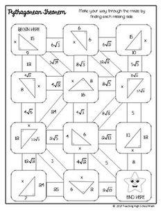 Geometry Right Triangles Mazes by Teaching High School Math Algebra Projects, Algebra Activities, Trigonometry Worksheets, 9th Grade Math, Math Cartoons, Pythagorean Theorem, Right Triangle, Math Classroom, Fun Math