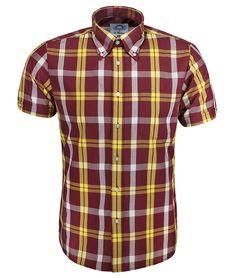 Brutus Trimfit - Oxblood DM8 Check Short Sleeve Shirt - Limited Edition Dr. Martens MK8